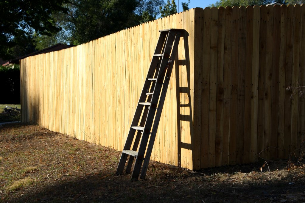 http://www.photos-public-domain.com/2010/12/02/wooden-ladder-leaning-on-fence/
